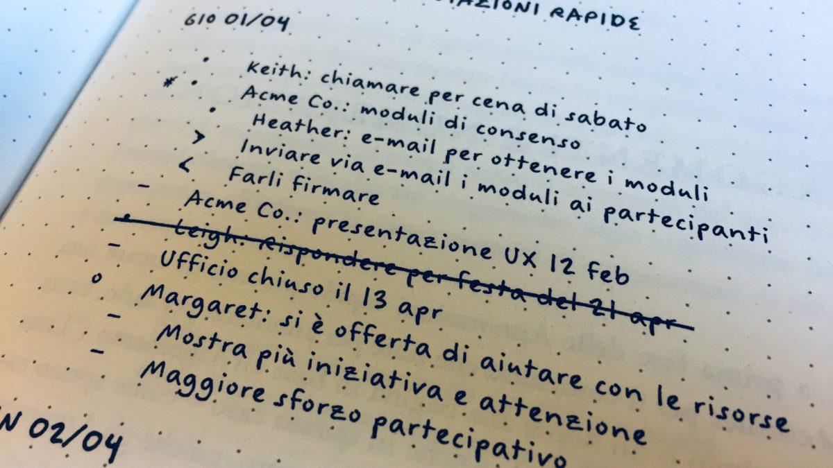 Tenere un diario con il sistema delle Annotazioni rapide