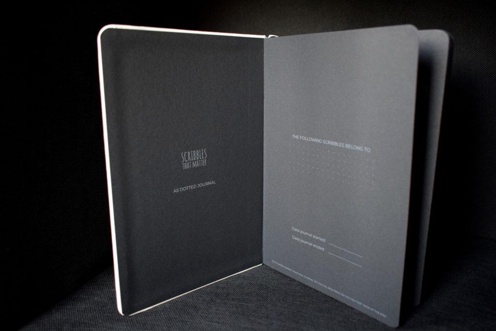 Quaderno con fogli neri puntinati